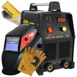 Cros Arc 200S Arc Inverter Welder With Helmet, Rods & Gloves