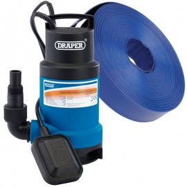 Draper 550W Submersible Dirty Water Pump with Float Switch (166L/min) with FREE 10m Layflat Hose