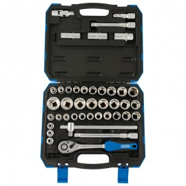 Draper Premium 1/2 Inch Sq. Dr. Combined MM/AF Socket Set (41 Piece)
