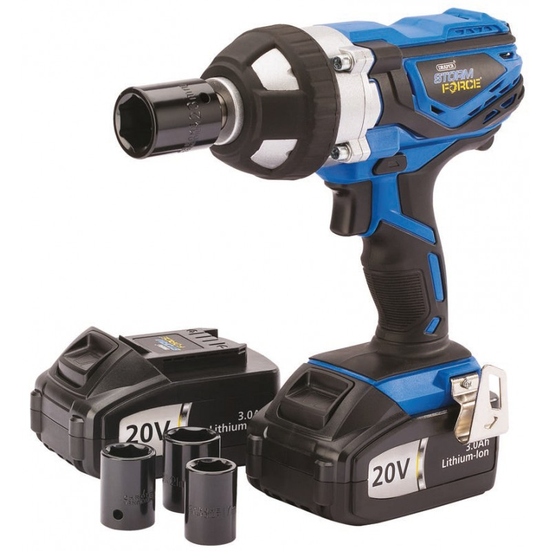 Draper Storm Force 1 2 Inch Cordless Impact Wrench 20v With Li Ion Batteries 3 0ah