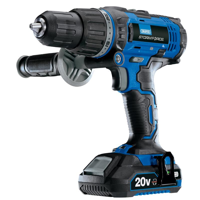 Storm Force ® 20 V Sans Fil Combi Perceuse avec deux batteries Li-Ion Draper