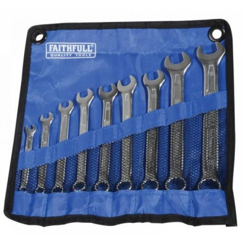 Faithfull 9Pc Combination Spanner Set With Roll
