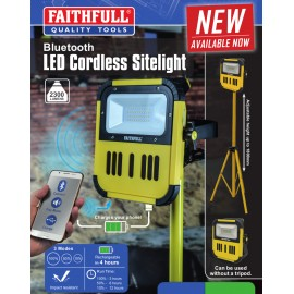 Faithfull Cordless LED Bluetooth® Site Light 7.4V 20W 2300 Lumens
