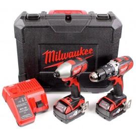 Milwaukee M18BPP2C-402C 18v Heavy Duty Combi Impact Driver Twin Pack 2 x 4.0Ah