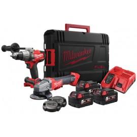 Milwaukee M18 FPP2AA-503X FUEL™ Drill and Grinder Twin Pack 3 x 5.0Ah Li-ion
