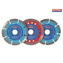 Faithfull Diamond Blade Set of 3 - Mixed 115mm