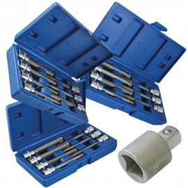 Extra Long 3/8in Drive Hex, Torx, Spline Bit Socket Set 22 Piece with 1/2in Adaptor