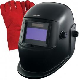 "Draper Everyday Light Reactive Welding and Grinding Helmet + FREE Premium 14"" Welding Gloves"