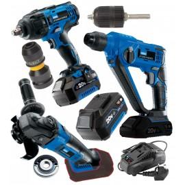 Draper 20V Stormforce 4.0Ah Wrench, Grinder and SDS Drill Super Deal