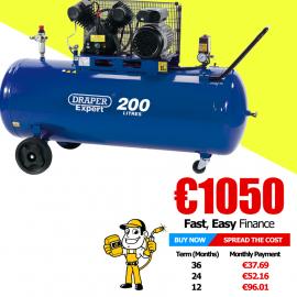 Draper 200L 230V 3.0hp (2.2kW) V-Twin Belt-Driven Air Compressor