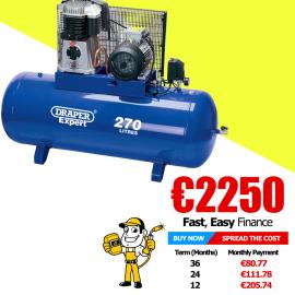 Draper Expert 270L 415V 7.5hp (5.5kW) Belt-Driven Air Compressor