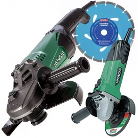 "Hitachi / HiKOKI 9"" & 4½"" Angle Grinder Twin Bundle (110v or 240v) with FREE 9"" Diamond Blade worth €20"