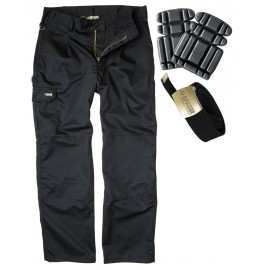 Apache Black Industry Cargo Trouser with Pair of Knee Pads and Belt