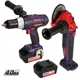 Sparky 18V Combi Drill + 4½ Inch Angle Grinder + 2 x 4.0Ah Li-Ion Batteries