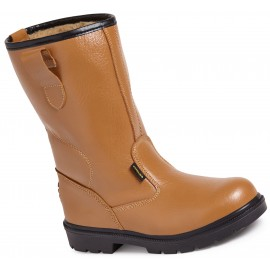 Worksite Tan Fur Lined Rigger Boot with Ankle Support