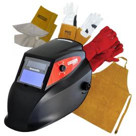 Welder Helmet, Arc Gloves, TIG Gloves, Apron & Spats Bundle